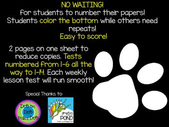 Spelling Test Paper ~ Journeys ~ Paw Prints!
