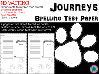Spelling Test Paper ~ Journeys ~ Paw Prints!