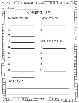 Spelling Test Paper {K-5}