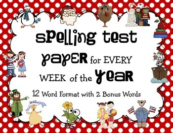 Spelling Test Paper Pack: 12 Word Format with 2 Bonus Words