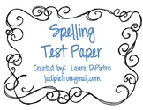 Spelling Test Paper Packet