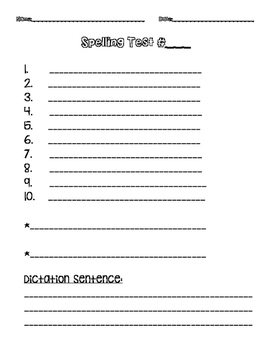 Spelling Test Paper (Updated)