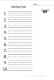 Spelling Test Paper  With Penmanship Lines (10 Words)