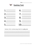 Spelling Test Paper With Sentence (10 Words/ Lines for Sentence)