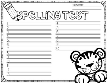 Spelling Test Paper [amazing animals edition!]