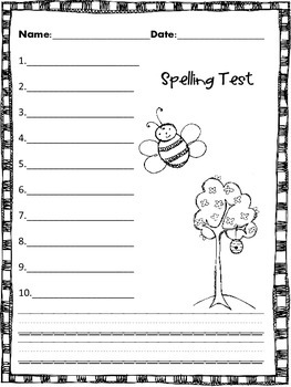 Spelling Test Paper for all seasons