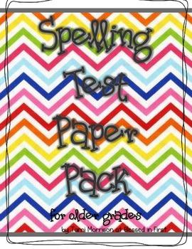 Spelling Test Paper [for the older grades]