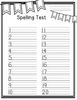 Spelling Test Paper [pennants & poms edition!]