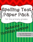 Spelling Test Paper [seasons & holidays edition!]