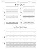 Spelling Test Paper with Dictation