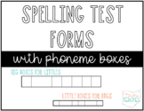 Spelling Test Paper with Phoneme Boxes
