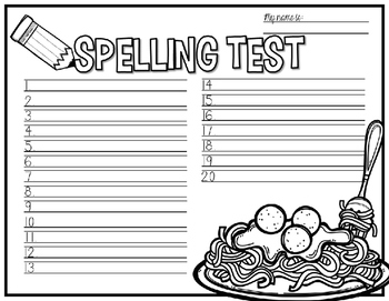 Spelling Test Paper [yummy snacks edition!]