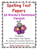 Spelling Test Papers for Primary Grades (10 Words/1 Sentence Version)