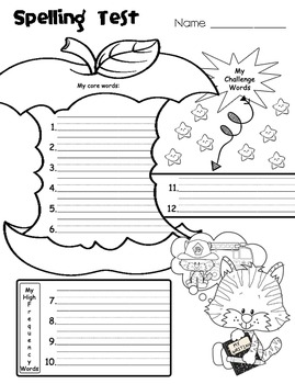 Spelling Test Papers // 12 words (Set of Six Papers)