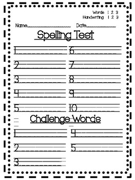 Spelling Test Papers 3 Versions and Sentence Paper