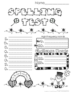 Spelling Test Papers // March - JPG