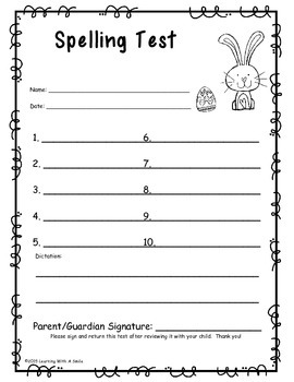 Spelling Test Papers for HOLIDAYS: Primary Grades (10 Words/1 Sentence Version)
