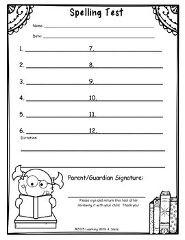 Spelling Test Papers for Primary Grades (12 Words/1 Dictation Sentence Version)