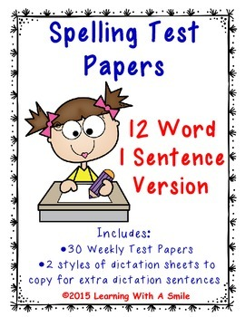 Spelling Test Papers for Primary Grades (12 Words/1 Dictat