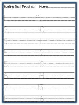 Spelling Test Practice Paper