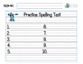 Spelling Test Practice Sheet