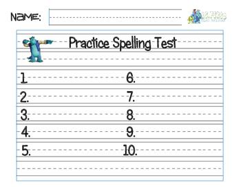 Spelling Test Practice Sheet