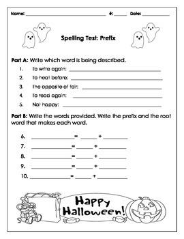 Spelling Test Prefix