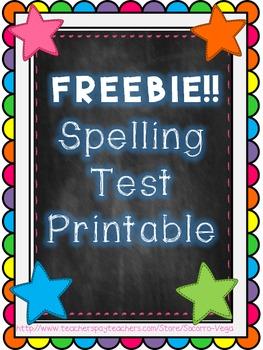 Spelling Test Printable! FREEBIE!!