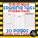 Spelling Test Printable Sheets and Data Tracker