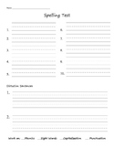 Spelling Test Printable Template