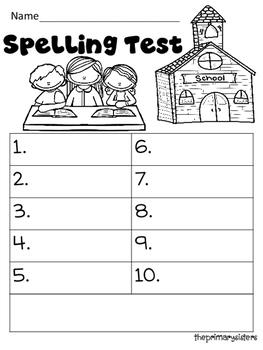 Spelling Test Recording Sheet