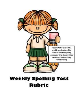 Spelling Test Rubric