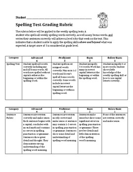 Spelling Test Rubric