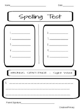 Spelling Test Sheet