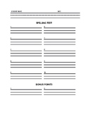 Spelling Test Sheet