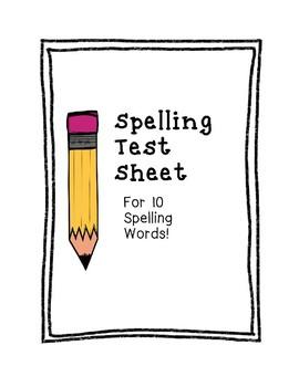 Spelling Test Sheet for 10 Words
