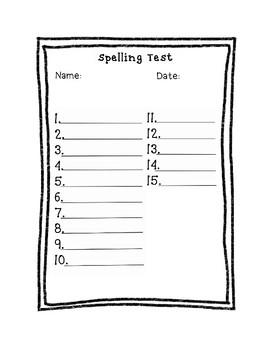Spelling Test Sheet for 15 Words