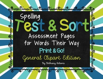 Spelling Test & Sort Assessment Pages ~Words Their Way~ *Print and Go* Clip Art
