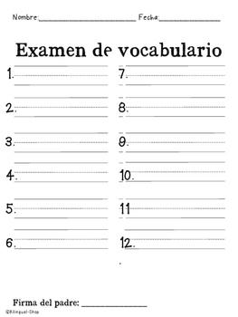 Spelling Test Spanish