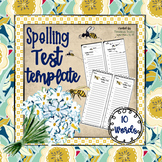 Spelling Pretest/Test Template (10 Words)
