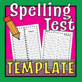 Spelling Test Template -10 words, 12 words, 15 words & 20 words! [Template]