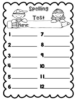 Spelling Test Template