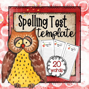 Spelling Test Template (20 Words)