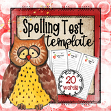 Spelling Pretest/Test Template (20 Words)