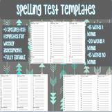Spelling Test Templates. 20 words and 15 words plus bonus