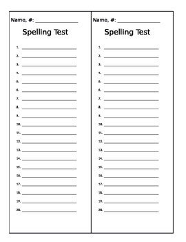 Beautiful Spelling Test Template