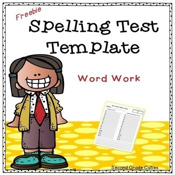 Spelling Test Template By Second Grade Cuties  Teachers Pay Teachers