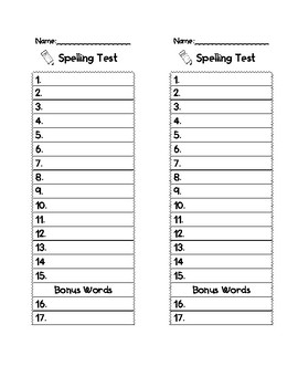 Spelling Test Template 10, 15, or 20 words
