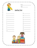 Spelling Test Template - Activity Sheet