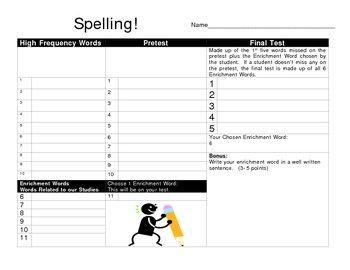 Spelling Test Template - Pretest, Study List, Test